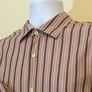 Banana Republic Brown Striped French Cuff Shirt